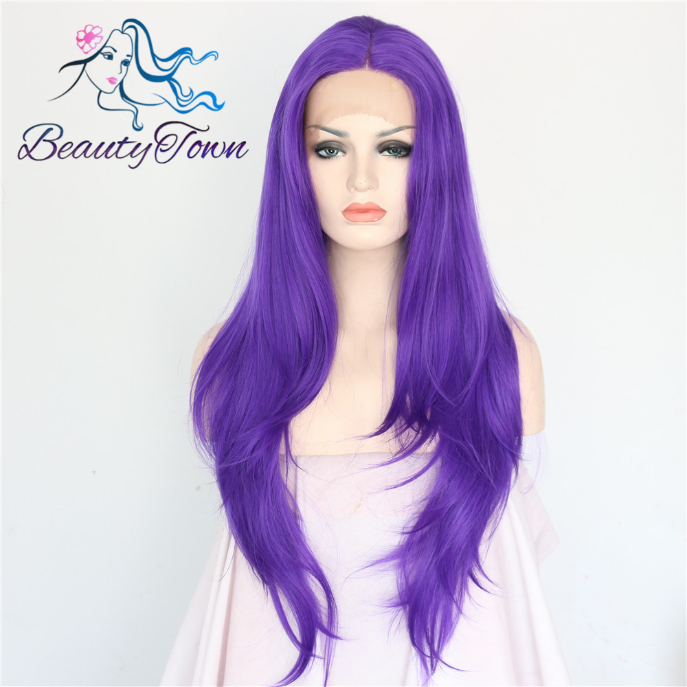 Purple Color Glueless Heat Resistant people hairline high density Handmade lace part Masquerade party Synthetic Lace
