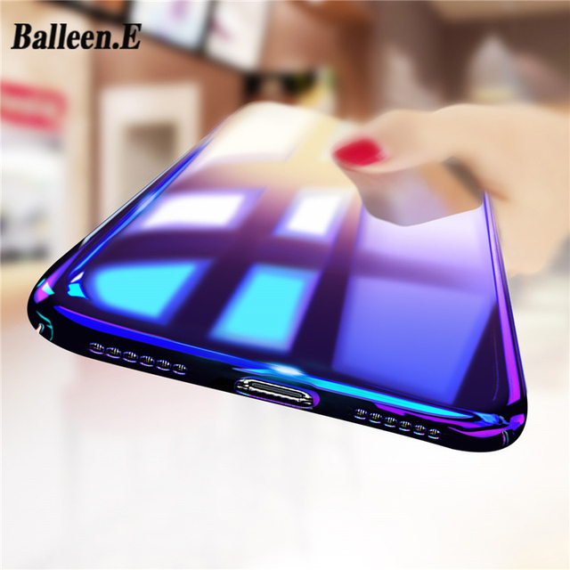 Balleen.E Phone Case For iPhone X 8 7 6 6s Plus 5 5s Luxury Gradient Blue Ray Color Case Transparent Clear Hard PC Back Cover
