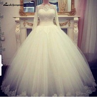 Simple Long Sleeve White Muslim Wedding Dress Scoop A Line Floor Length Lace Bridal Gowns robe de mariage