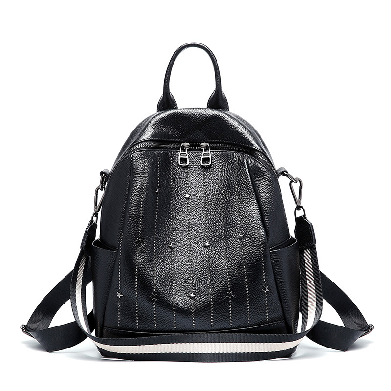 Famous brand high quality leather womens backpack new fashion bag casual wild first layer small backpacks woman