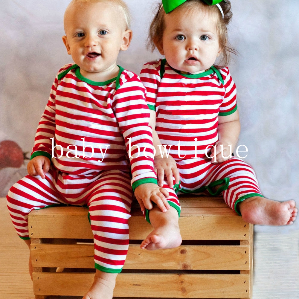 Long Sleeve Christmas Stripe Pajamas Full Piece Newborn infant Baby Leg Romper outfit