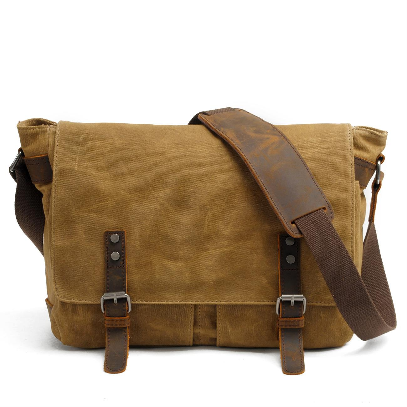 Men Vintage Crazy Horse Leather Strap Canvas Waterproof Crossbody Messenger Bag Male Leisure School Laptop Shoulder Bags for Boy