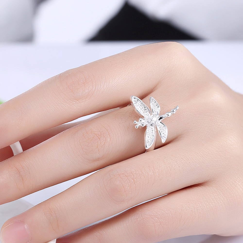 Classic Silver Plated Cubic Zirconia Dragonfly Ring Women Jewelry ...