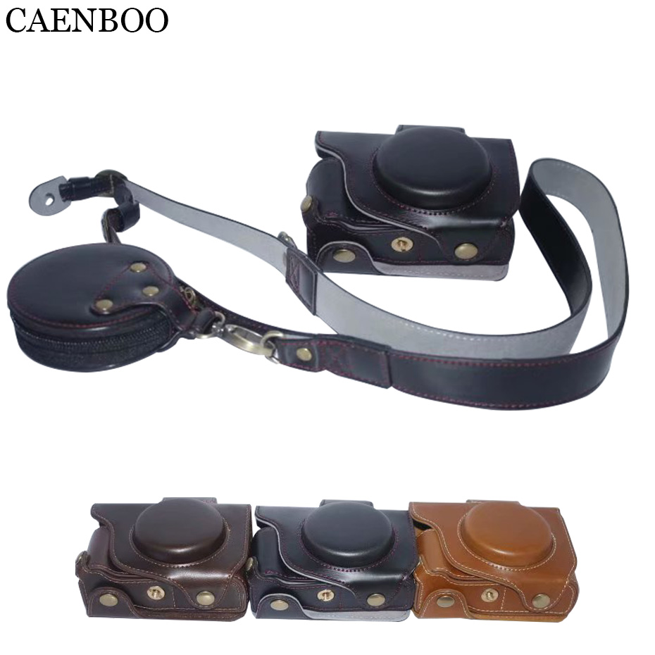 CAENBOO Camera Bags Luxury Leather Hard Case For Canon PowerShot G5X Storage Bag Strap Bottom Opening Cover With Shoulder Strap