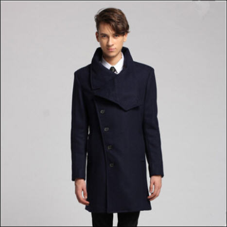 Slim Outerwear Long Design Single Breasted Wool Coat For Men Autumn Winter Men's Cashmere Coat Wool Trench Coats Overcoat A461