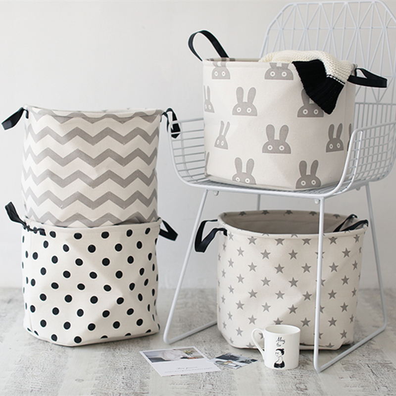 New Cotton Linen Square Laundry Hamper Clothes Storage Baskets Nordic Style Thickened Leather Handle Stocks Barrel Bags Folding