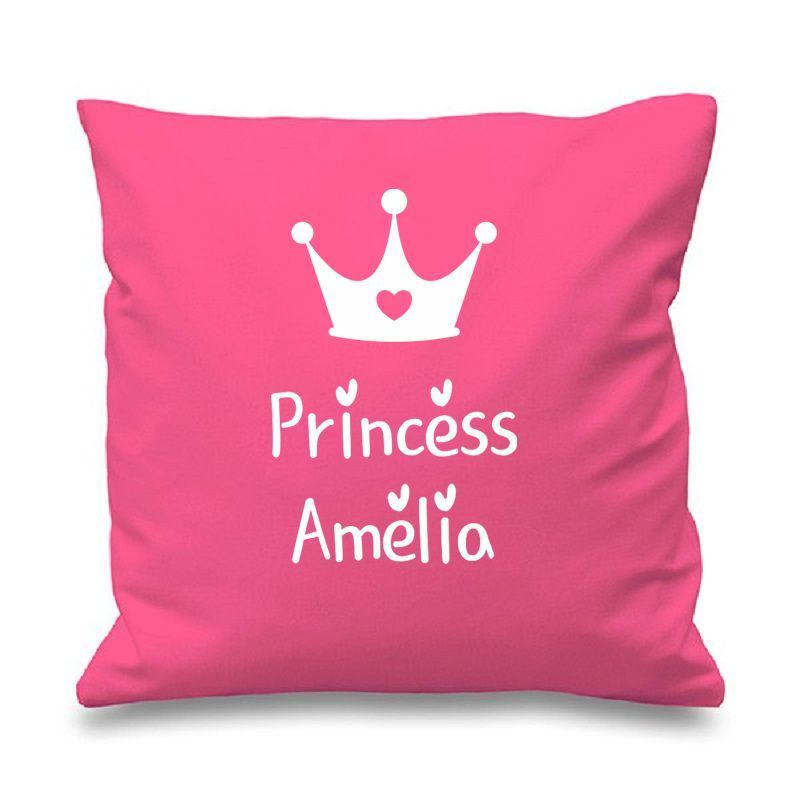 Personalized Pink Princess Crown Cushion Cover Custom Name