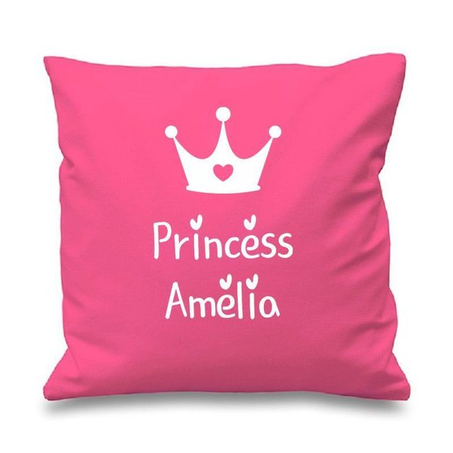 Personalized Pink Princess Crown Cushion Cover Custom Name Throw Pillow Case Personalised Gifts Home Sofa Chair Decor 18
