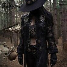 Fitshinling Goth Dark Lace Patchwork PU Jacket Women Faux Leather Rivet Black Autumn Coat Female Gothic Grunge Sheer Jackets Hot