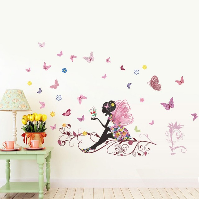 HOT Personality Fairies Girl Butterfly Flowers Art Decal Wall Stickers For Home Decor DIY Mural Kids