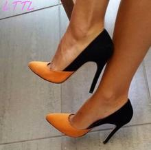 Spring Fashion Orange/Black Suede Women Slip On Pumps New Style Mixed Colors Ladies Elegant High Heels Party Shoes