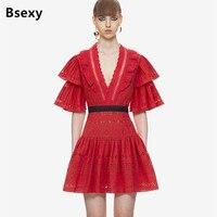 Kırmızı Noel elbise Kadın Kesme V boyun Fırfır Parlama Kol Zarif Kısa Elbise Yeni Moda 2017 Self portrait parti elbise
