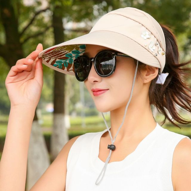 1PCS summer Sun Hats pearl women packable sun visor hat with big heads wide  brim beach 7c3d16082f3b