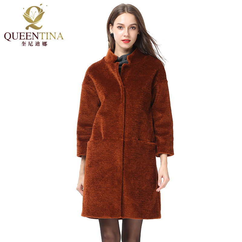 Women s Real Fur Coat Fashion Sheep Shearing Fur Coat with Stand Collar Winter Warm Sheep