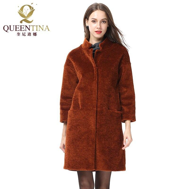 Manteau en fourrure véritable pour femme manteau en fourrure de mouton avec col montant veste d'hiver en peau de mouton véritable-in Réel De Fourrure from Mode Femme et Accessoires    1