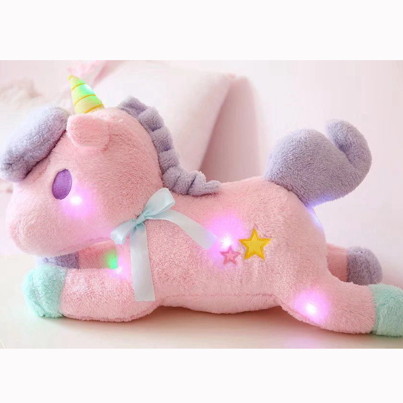 Nooer Luminous Led Light Stuffed Unicorn Plush Toy Soft Flashing Stuffed Animal Unicornio Doll Children Kids Birthday Gift stuffed animal 120 cm cute love rabbit plush toy pink or purple floral love rabbit soft doll gift w2226