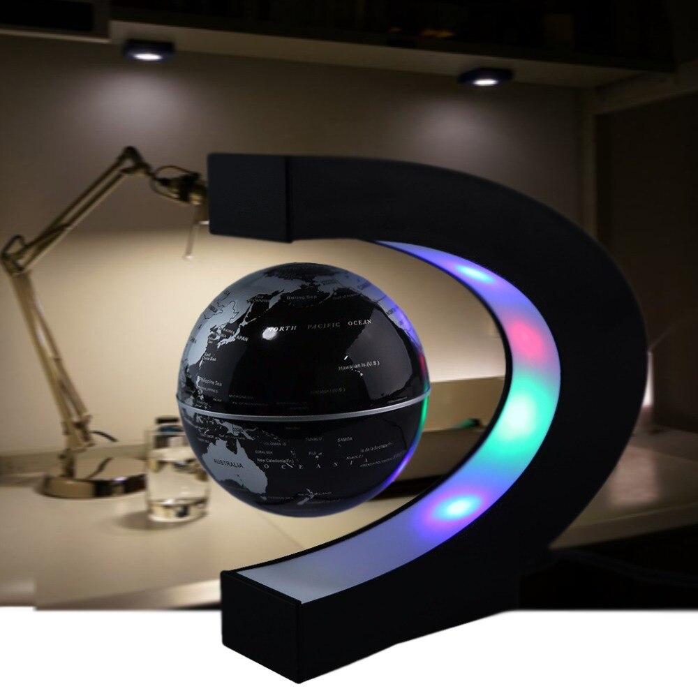 C Shape Magnetic Levitation Floating Globe World Map With LED Light EU Plug Gift