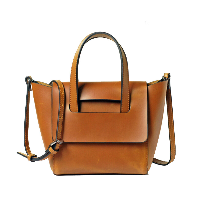 European and American retro mujer genuine leather big tote bags New Arrival solid color shoulder bag Classical female handbag creative new brand women retro genuine leather shoulder bag european and american style woman bag postman package with rivets