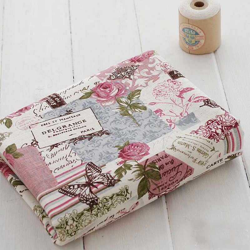 Zakka Linen 50cm*140cm Flower & Butterfly Linen Fabric Fat Quarter Bundle Vintage Quilting Patchwork Tilda Fbric sewing crafts