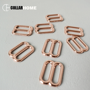 200pcs metal sliders adjusters buckle 20mm webbing DIY cat dog collar straps accessories belt buckles rose gold tri-glide