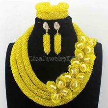 New Christmas Yellow Flower African Costume Jewelry Sets Nigerian Wedding Beads Bridal Necklaces Earrings Free Shipping HD8776