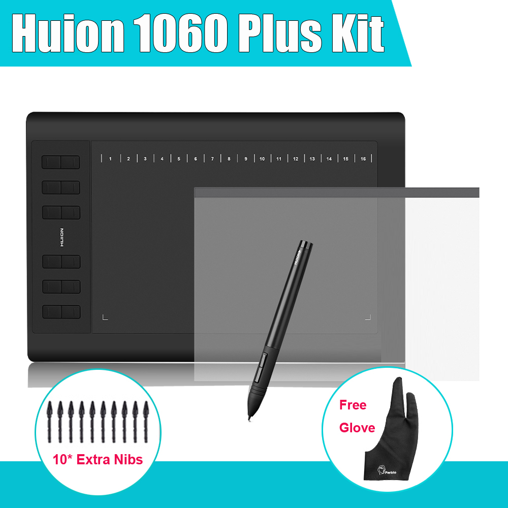 Huion 1060 Plus Graphic Drawing Digital Tablet w/ Card Reader 8G SD Card 5080 LPI 12 Express Key + Protective Film +Parblo Glove huion p608n usb 26 function keys graphic tablet black