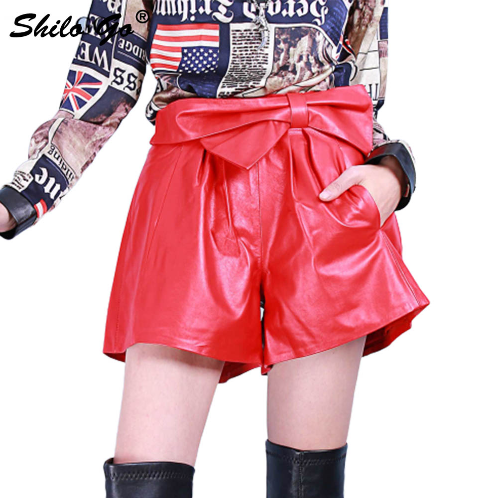 Leather Shorts Womens Spring Fashion Sheepskin Genuine Leather Shorts Stretch High Waist Bow Belt Red Wide Leg Shorts