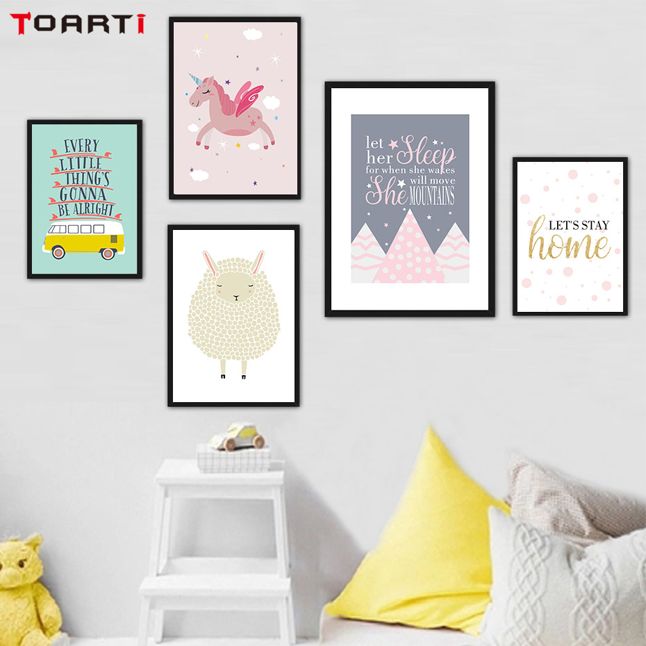 Poster Nordik Dan Gambar Kartun Unicorn Horse Modern Canvas