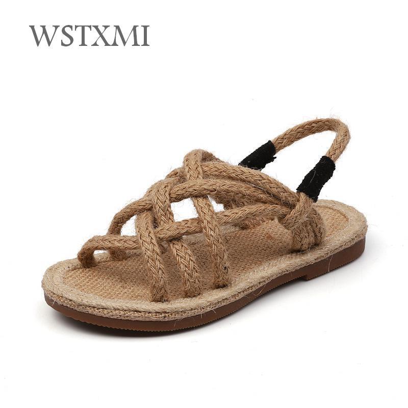 Children Sandals Beach-Shoes Girls Flat Baby Fashion Summer for Weaving Kids Soft Non-Slip