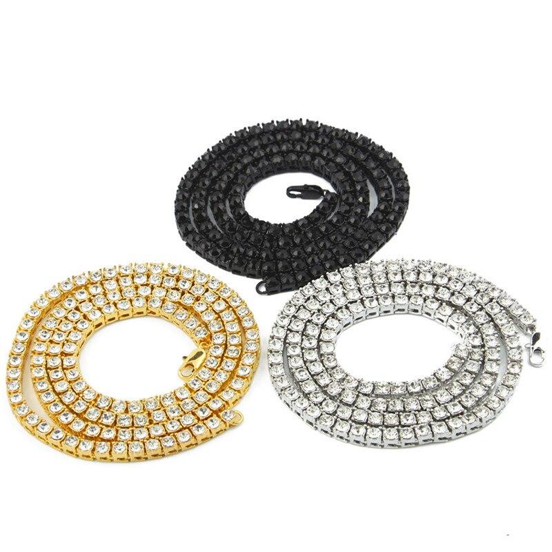 Romad Mens Hip Hop hombres collar helado 1 Fila de gargantilla de diamantes de imitación de cristal Bling directo collar de cadena de los hombres Kolye gota envío G3J