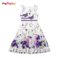 PaMaBa 2 15 Years Old Girls Clothes Dress Floral And Butterflies Print Princess Dresses Casual Summer