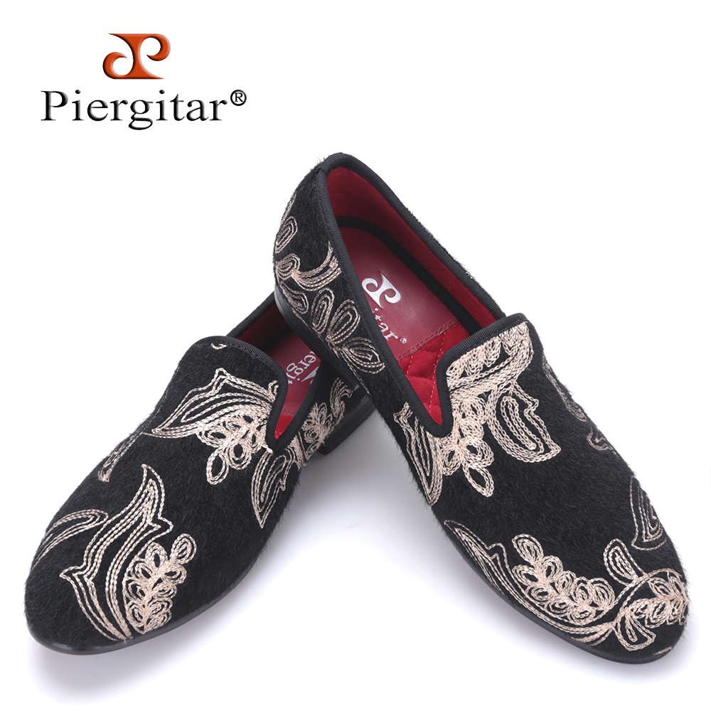 Piergitar 2017 new arrival men velvet shoes with Handcrafted  Golden Jacquard Flower Prom and Banquet men luxurious loafers piergitar 2016 new india handmade luxurious embroidery men velvet shoes men dress shoes banquet and prom male plus size loafers