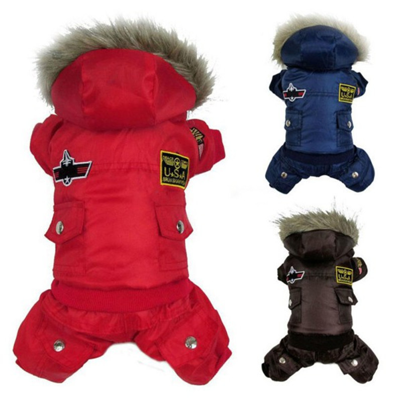 Pet Clothes Winter Warm Dog Clothes Padded Hooded Dog Jackets Four Legs Jumpsuit Pants Apparel Dog Coats Size XS-4XL