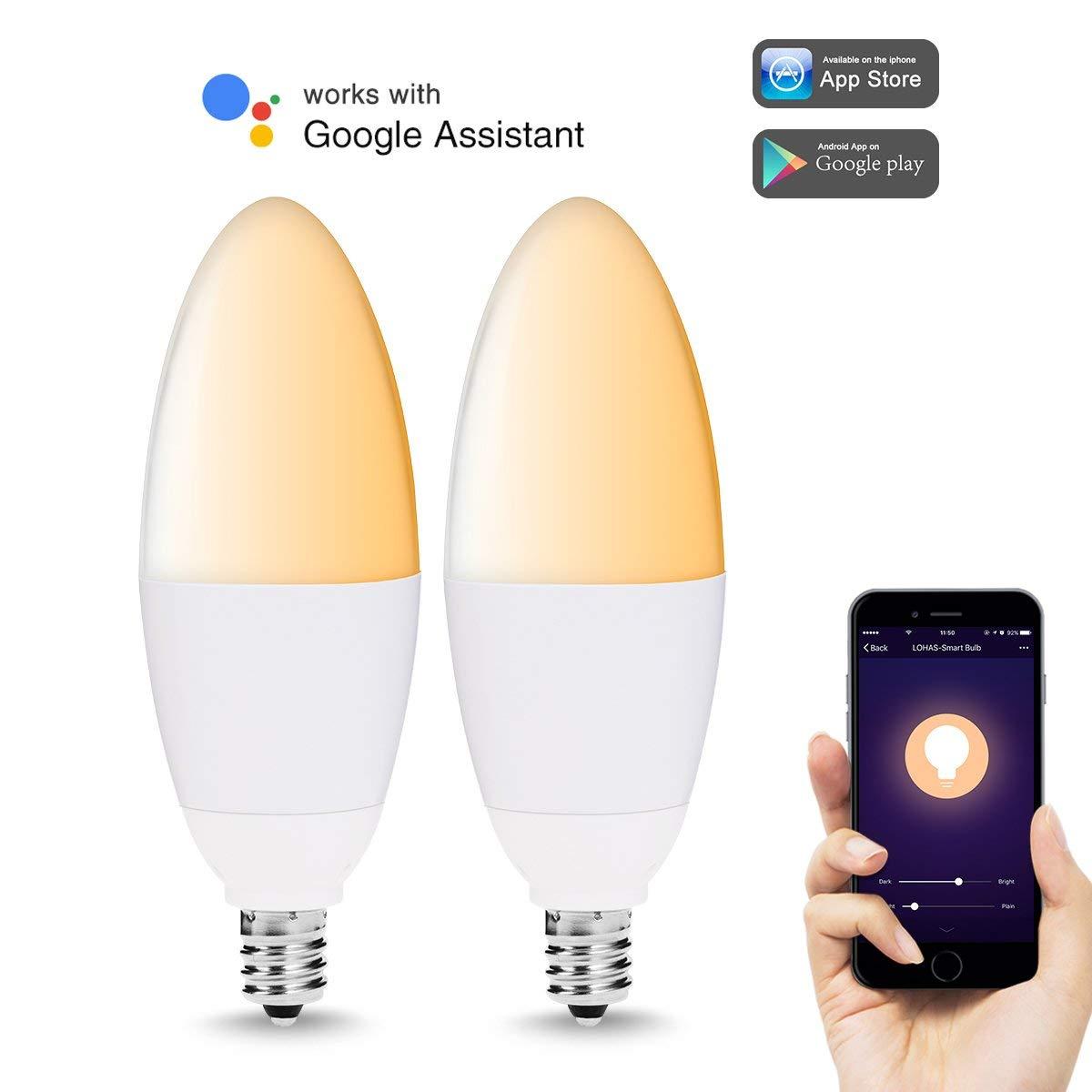 Smart LED Ampoule Dimmable E12 Base Wi-Fi Candélabres, 40 w Équivalent (5 w) lumière Compatible avec Alexa et Google Assistant (2 Pack)
