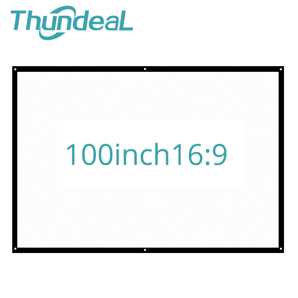 ThundeaL 100 inch 16:9 Portable Projector Screen Plastic Projection Screen Matte White for Wall Mounted Home Theater Bar Travel