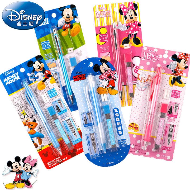 Disney Cartoon 0.5mm Mechanical Pencil With Eraser Mickey Minnie Kids Mechanic Pencils Set With Refill Student Writing Supplies