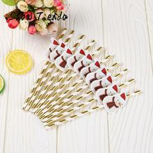 10PCS Christmas Color Drink Paper Straws Birthday Party Theme Festivals For New Year Gift #35
