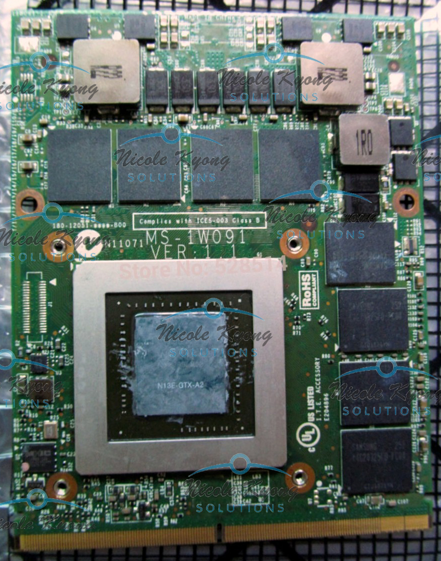 GTX680M GTX 680M 4G MS-1W091 VGA Video Card Module For MSI 16F2 16F3 16F4 1761 1762 1763 GX680 GT683DX GT783DX GT60 GT70