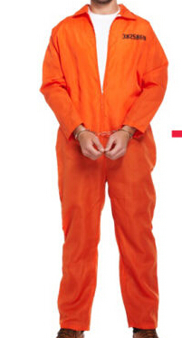 MENS PRISONER CONVICT COSTUME HALLOWEEN FANCY DRESS XMAS ORANGE OVERALL JUMPSUIT