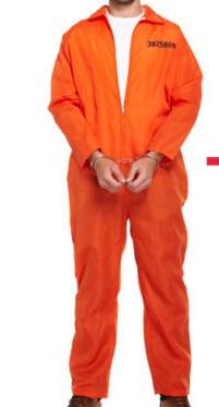 MENS PRISONER CONVICT COSTUME HALLOWEEN FANCY DRESS XMAS ORANGE OVERALL JUMPSUIT