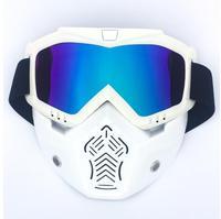 Новая распродажа модульная маска Съемные очки и рот фильтр идеально подходит для открытого лица мотоциклетный полушлем или винтажные шлем...