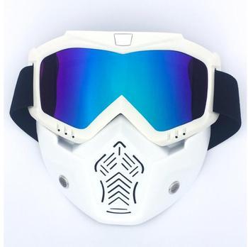 0c455232fe Nuevas ventas máscara Modular gafas desmontables y filtro de boca perfecto  para cara abierta motocicleta medio casco o casco Vintage