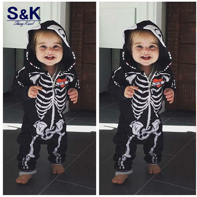 bc93766b1c43a 2018 Newborn Girl Boy Toddlers Jumsuit Clothing Long Sleeve Romper Infant  Product Skeleton overalls Skeleton Rompers XH-219