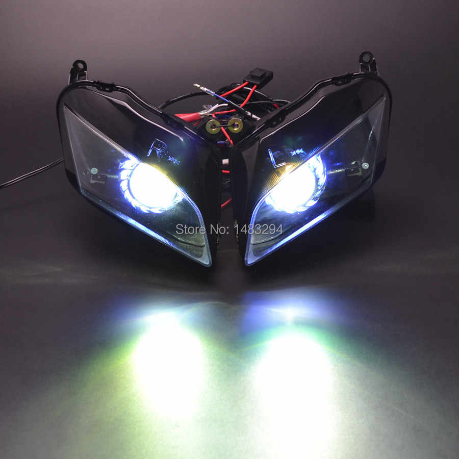 Green Demon Eye+HID Projector Headlight For CBR600RR 600RR F5 07-12 Blue Angel