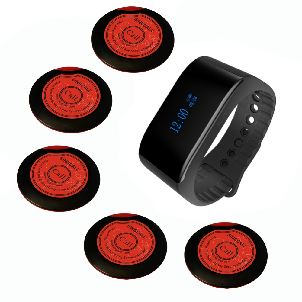 SINGCALL Paging System in Wireless Communication Take a Number System for Customer, 1 Bell Watch Receiver 5 Service Call Buttons