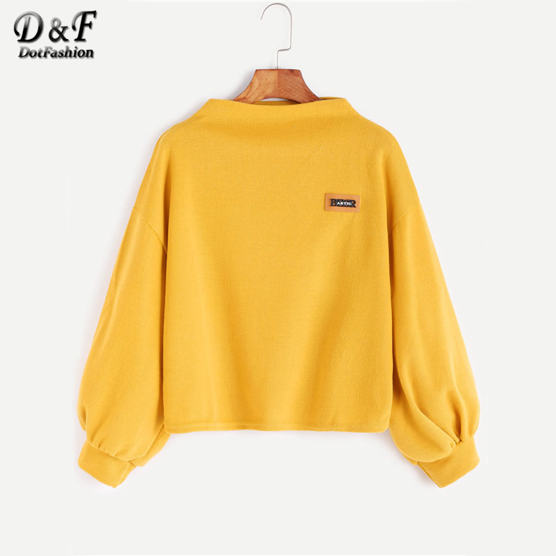 Dotfashion Funnel Neck Lantern Sleeve Patch Solid Sweatshirt Women 2019 New Kawaii Autumn Yellow Pullovers Sweatshirt