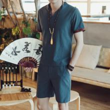 Loldeal Summer Mens Chinese Style Plain Short Sleeve T-Shirt Shorts Cotton Set