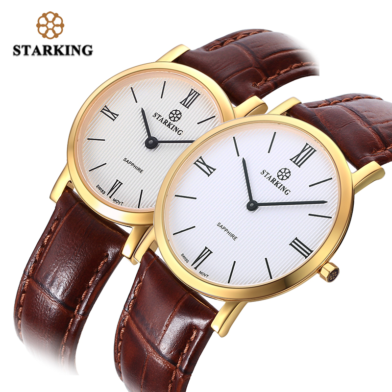 STARKING  Man Women Watches Set Ultra-Thin 6mm Quartz Wristwatch Japan Movt Sapphire Crystal Leather Belt Lover watches ClockSTARKING  Man Women Watches Set Ultra-Thin 6mm Quartz Wristwatch Japan Movt Sapphire Crystal Leather Belt Lover watches Clock