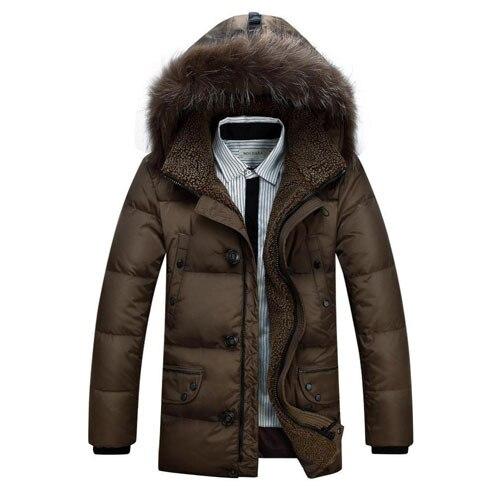 2016 Nueva Moda de Invierno Medio-largo Hombres de la Chaqueta de Pato Blanco Abajo Chaquetas Parkas Warm Faux Capucha de Piel Hacia Abajo 13M0108