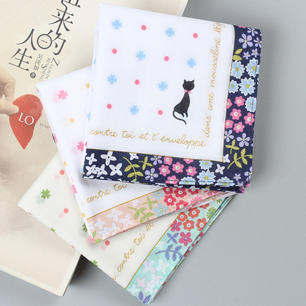3pcs Women Girls Soft Cotton Printed Hankerchiefs Kerchiefs Pocket Square Wedding Party Hanky 40 X 40cm